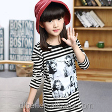 HYTY New 2015 Autumn Long Sleeve stripe T-shirt Manual Nail bead Chesterfield-style Bottoming Shirt