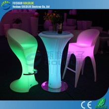 Computer Control PE Plastic Rechargeable LED Light Glowing Bar Furniture Bar Cocktail Table and Chair