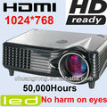 960*576 Portable Bright Cheap LED projector AC110~240V black color