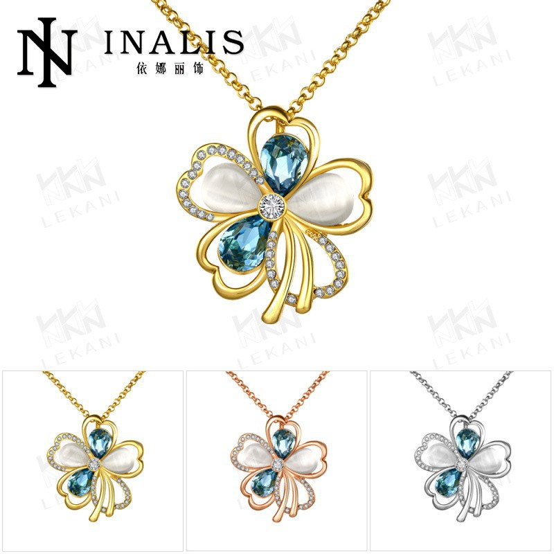 LKN18KRGPN858 Gold Necklace Desings Tin Alloy Material 18K Gold Crystal Jewelry Necklace