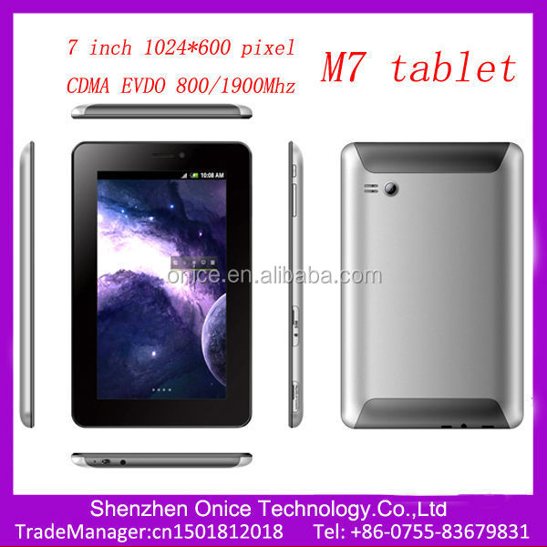 7 inch 1024*600 pixel cdma 800mhz evdo tablet M7 cdma sim card tablet pc android 4.0 Qualcomm MSM8625 tablet phones cdma