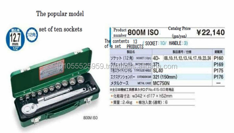 High quality socket wrench set by Japanese hand tool manufacturer