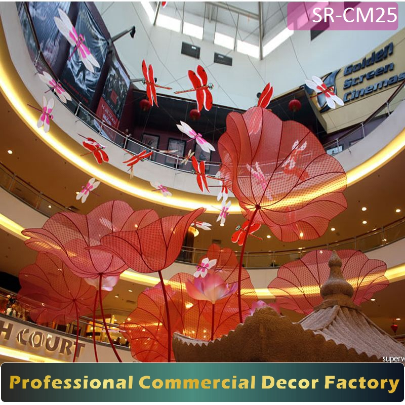 Customize commercial shopping center display stand with lotus flower and dragonfly for spring summer decoration