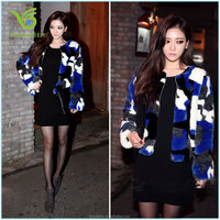 Colorful leopard synthetic fur jacket for 2016 ladies women trench