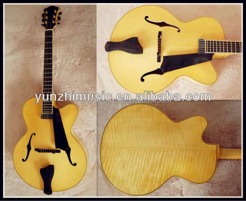 16inch fully handmade flamed maple wood archtop jazz guitar