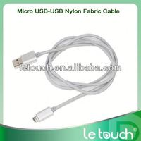Micro USB Aluminum Connector Nylon Fabric Braided network data cable for Samsung for Android phone