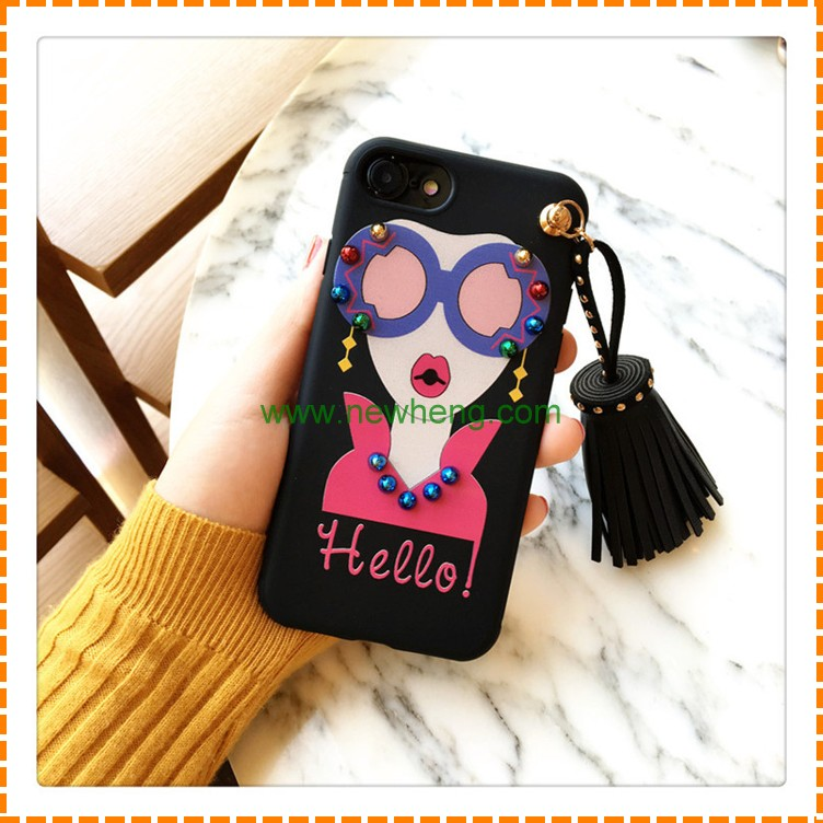 Hot Selling Beautiful 3D Girls Tassel Silicone Mobile Phone Case for iphone6/6s