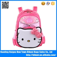 Alibaba hot sale promotional fashion lovely pink hello kitty bag kid school bag backpack with bow for girls