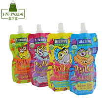 liquid drinking water bag plastic stand up water pouch with spout for kids