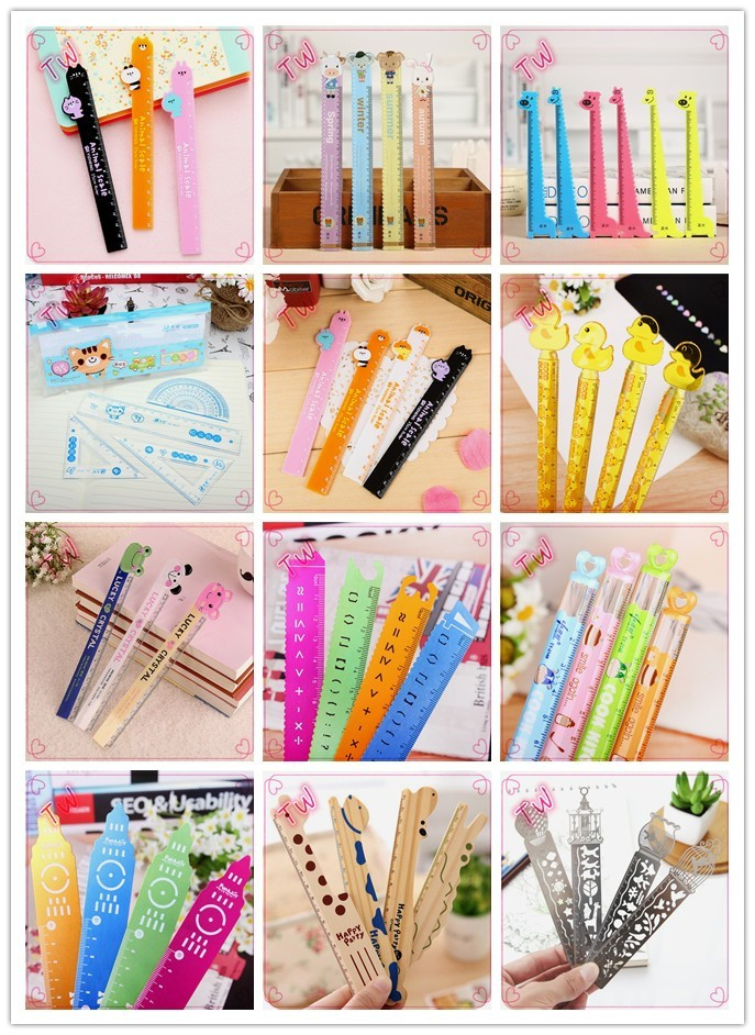 Professional custom kids stationery list 2017 best selling cartoon animal shaped making straight flexible plastic rulers