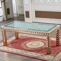 8 ft square stainless steel glass top dining table