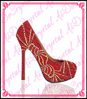 Aidocrystal glitter rhinestone women pumps red high heels,wedding party evening shoes with stones