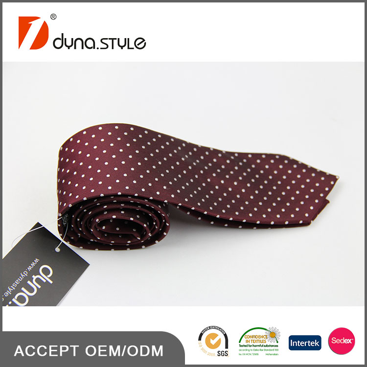 Hot Sale New Design Wine Red And White Dots Available Necktie