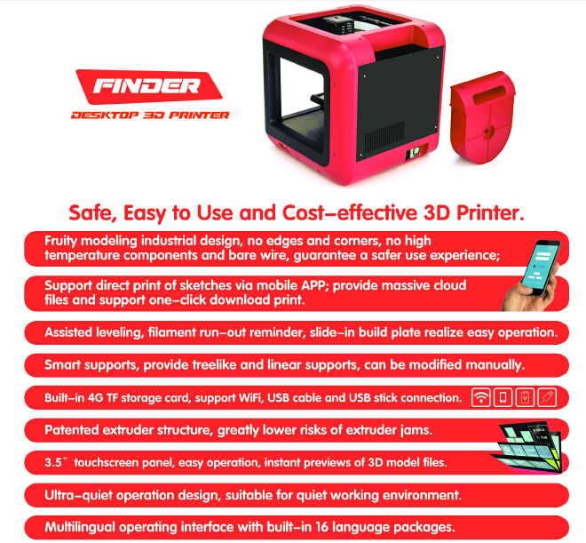 2016 Flashforge Finder desktop 3D Printer machine with automatic leveling mini cheap 3d pr for Families, small Eductation Groups