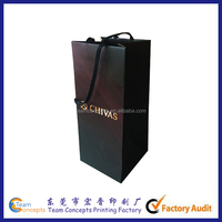 Custom printing wine packaging paper bag with cotton handle