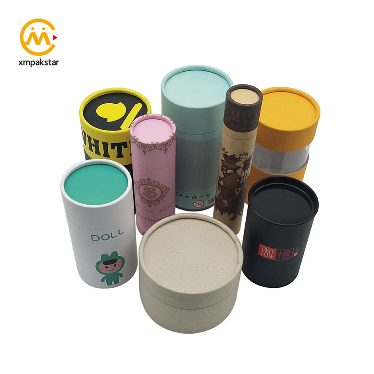 Wholesale custom made printed round recycled cardboard gift tubes with lid