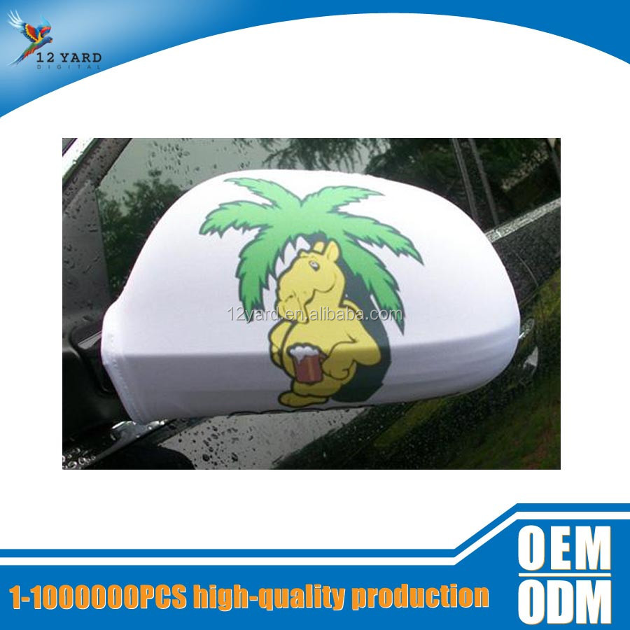 Promotion NCAA cartoon logo sport fans auto accessories car mirror cover flag