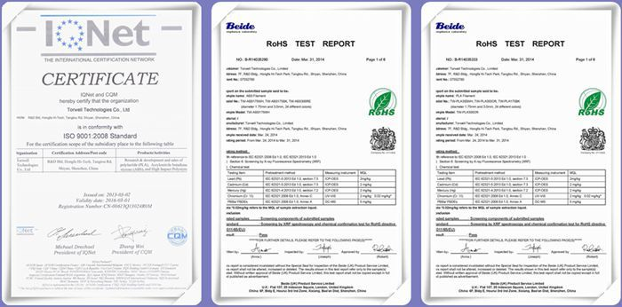 ABS PLA filament certification_