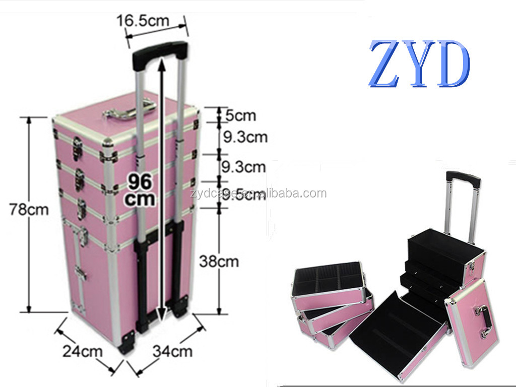 professional aluminum makeup suitcase wheeled pink beauty trolley case