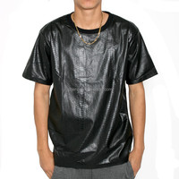 Brief and Fashion Soft Snakeskin Leather T-Shirt Round Neck Short Sleeve New Model Men's T-Shirt