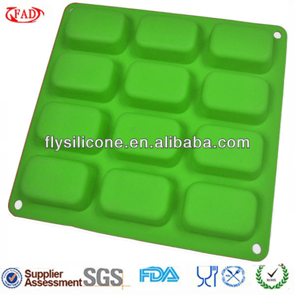 12 Cups Square Green Flexible Silicone 3d Cake Mold Own Mold Factory
