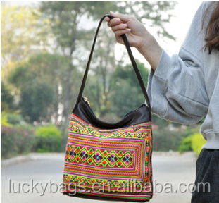 China alibaba embroidery tote bag fashion women leather shoulder bag
