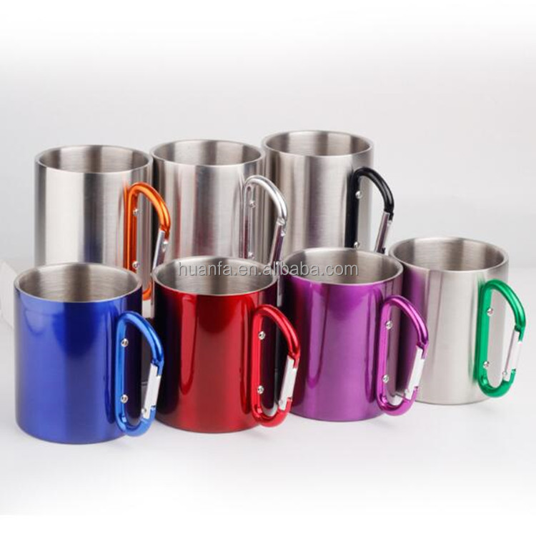 250ML High Quality Stainless Steel Coffee Mug Tea Cup with Handle Carabiner Hook for Outdoor Picnic Mug Travel Tumbler Beer Cups