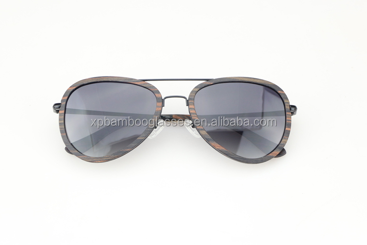 OEM Premium Wood Metal Mens Sports Sun Glasses With Gradient Polarized Lens