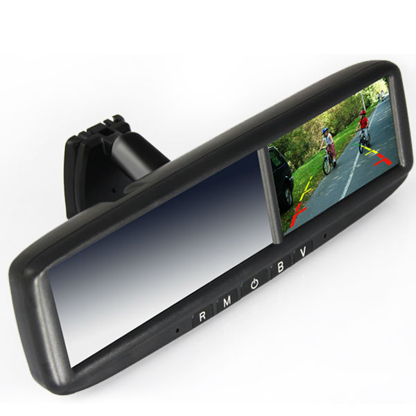 4.3Inch rearview mirror gps with car camera bluetooth fm auto-dimming homelink
