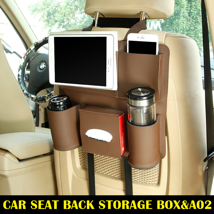 Brown <strong>A02</strong> Universal Auto Car Back seat Backseat organizer storage bag Pocket Phone iPad Cup holder Tissue box Umbrella bag