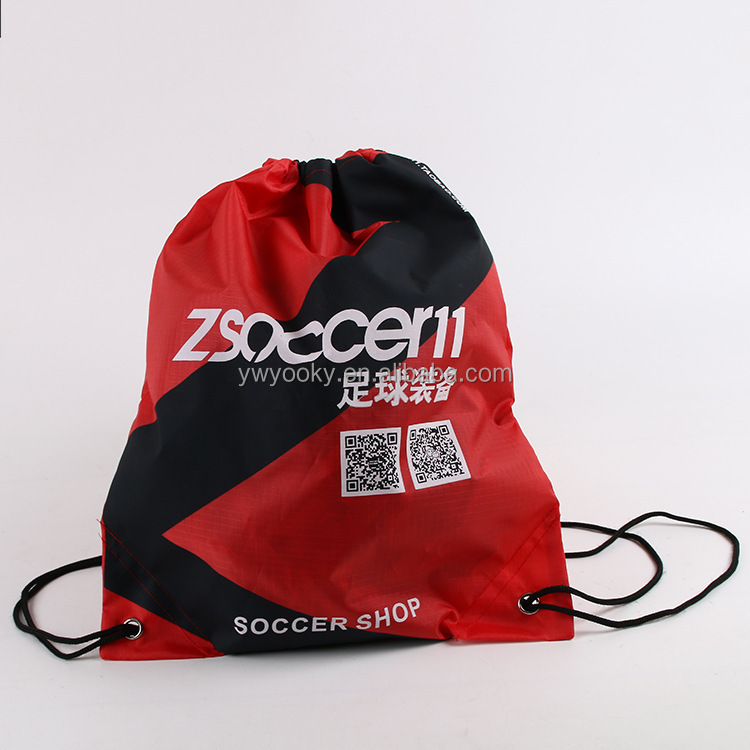 Red silk logo printed 210D polyester promotional cheap drawstring soccer shoes bag