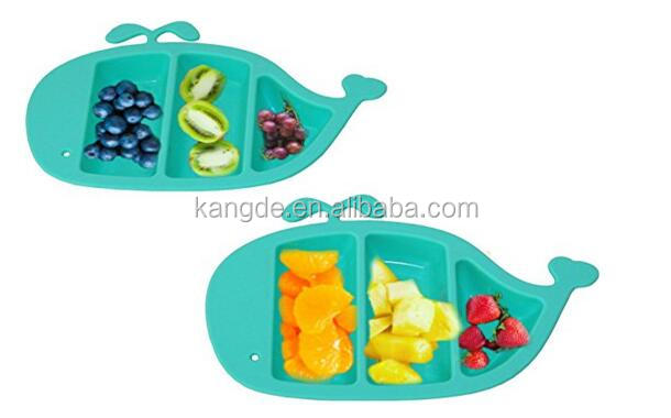 Baby Divided Plates /Silicone Food Tray Dish for Graduates Toddler/Non Skid Non Slip Dish for Kids