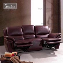Recliner do sofá home theater design Moderno sofá de couro reclinável