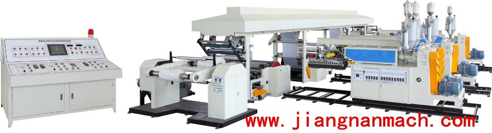 High Efficiency Industrial Plastic Machinery One or Two Side Hot Melt Granule PE Extrusion Coating Laminating Machine