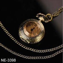 Mini tinted glass vintage pocket watch necklace / retro sweater chain