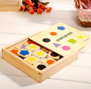 Wholesale hot selling shape digital fruit and vegetable 28pcs colorful mini wooden domino set