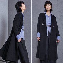 Italian women long style black alpaca wool fur coat
