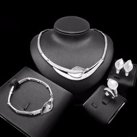 Latest Design Bride Sets 18k Italy Gold Bracelet High End White Gold Jewellery Set