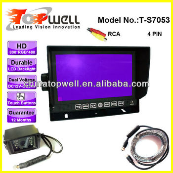 7'' LED Backlight 800*RGB*480 High Resolution Digital Screen 3 Video Inputs Trailer Rear View Kit with Heavy Duty Backup Camera