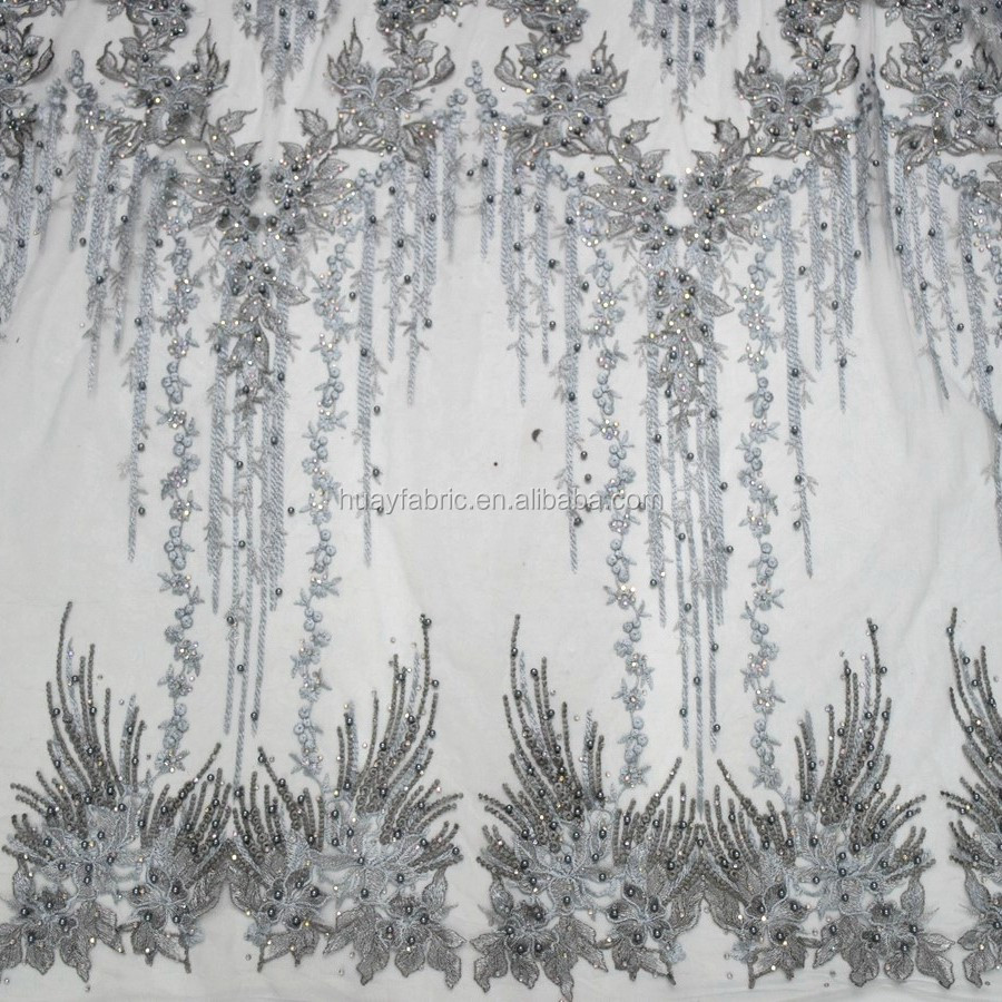 New arrival Fashion Embroidery gray Tulle Lace Fabric 2017 African French Lace for Party
