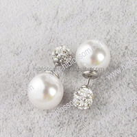 wholesale double sided pearl earrings with crystal shamballa