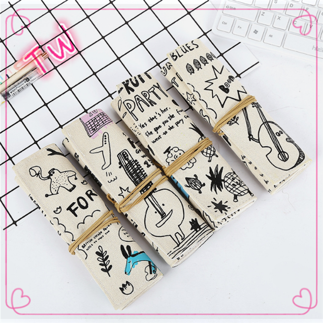 2018 New Arrival Fashion Trend Creative Graffiti Canvas Pencil Case For Studebts felt Pencil Bag Packaging