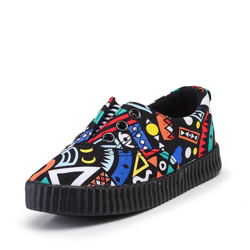 New design 2016 Printed casual shoes Cheap Low-cut Graffiti style Children Kids canvas shoes Wholesale boys girls footwear