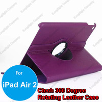 Purple 360 Degree Rotating PU Leather Smart Cover Case Stand for iPad Air 2