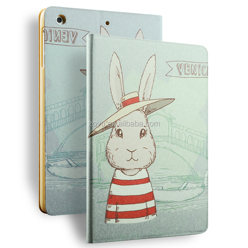 retro genuine pu leathe soft case for ipad air2 new painting case