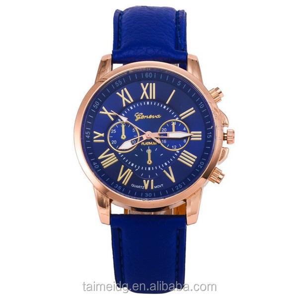 Custom logo military genuine leather watches, geneva brand watches, women fashion watch