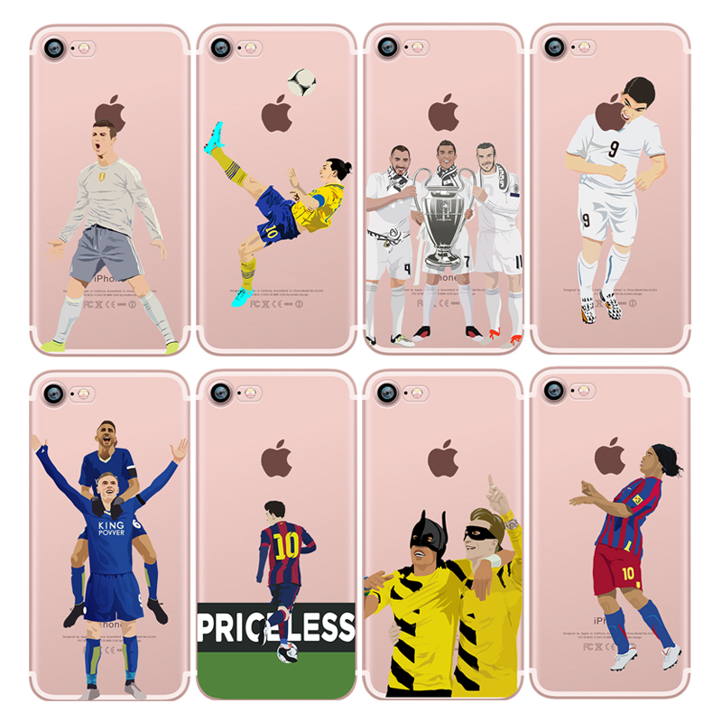 Football Star Player Messi Ronaldo Neymar Hard soft Case For <strong>iphone</strong> 6/6s Plus 5s 7