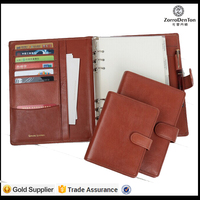 A4 classical leather manager folder document file holder with button