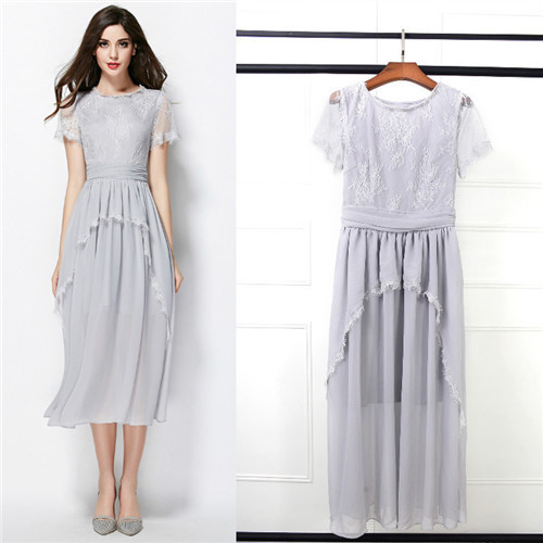 chiffon mid-calf dress women midi dresses casual runway grey elegant lace dresses  top end fashion ruffle summer dresses female