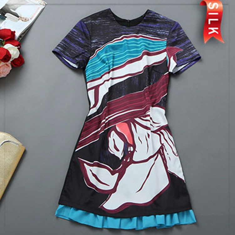 2015 summer 100% silk o neck short sleeve formal Skirts for women